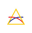 letter a overlapping arrow line logo vector image vector image