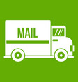 mail truck icon green vector image vector image