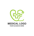 medical healthcare stethoscope cross logo vector image vector image