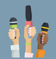 multiethnic journalists holding microphones flat vector image