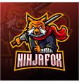 ninja fox esport mascot logo design vector image vector image