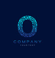 o letter logo science technology connected dots vector image vector image
