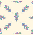 oak leaves seamless pattern hand drawn vector image