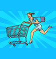 pop art woman running with shopping cart vector image vector image