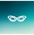 Retro cat eyeglasses thin line icon vector image