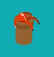 santa claus on chimney pipe christmas holidays vector image vector image