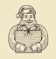 santa claus with gift box sketch christmas vector image
