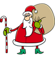 santa with sack and cane vector image vector image