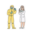 scientist-chemist woman and man in professional vector image