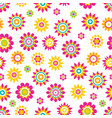 seamless pattern springtime flowers cartoon vector image vector image