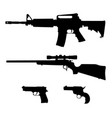 semi-automatic rifle hunting rifle and pistols vector image vector image