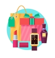 Set of gift box and bag with various gifts in flat vector image