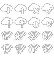 set of icons in line style cloud and wifi vector image vector image
