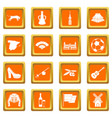 spain travel icons set orange vector image vector image