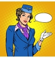 Stewardess airline invites you to Board vector image vector image