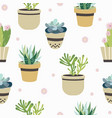 succulent and cactus seamless pattern flat style vector image vector image