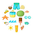 summer items icons set cartoon style vector image vector image