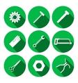 Tools icons set Saw tongs wrench key cogwheel vector image vector image