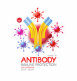 virus and antibody healthcare 3d design stop vector image