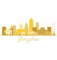 zhengzhou city skyline golden silhouette vector image vector image