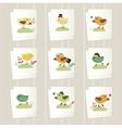 Set of cartoon cards vector image