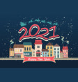 2021 horizontal english city calendar cozy city vector image
