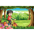 A boy biking at the woods vector image vector image