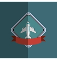 airplane emblem with banner image vector image vector image