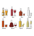 alcohol type set color vector image vector image