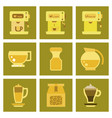 Assembly flat icons coffee cup coffee maker