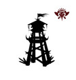 black silhouette of orcs tower fantasy object vector image vector image
