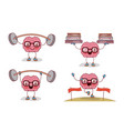 brain cartoon set with glasses and exercising vector image vector image