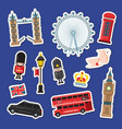 cartoon london stickers set vector image vector image