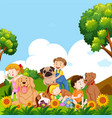 children and pet dogs in garden vector image vector image