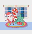 christmas santa claus with cane in the house vector image vector image