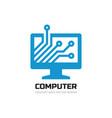computer network logo design monitor display vector image vector image