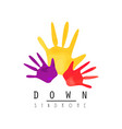 creative emblem with colorful hands developmental vector image vector image