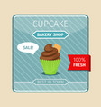 cute card brown cupcake with gaufre vector image vector image