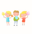 cute little girls and a boy eating cotton candy vector image