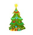 decorated christmas tree icon isolated vector image vector image