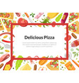 delicious pizza card template with cooking vector image vector image