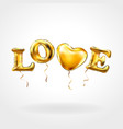 gold letter love balloons heart gold characters vector image vector image