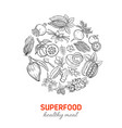 hand drawnn superfood round poster vector image vector image