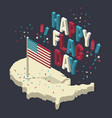 happy memorial day isometric composition with vector image