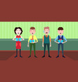 happy people holding gift box standing together vector image vector image