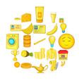 healthy food icons set cartoon style vector image vector image