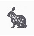 Hipster style hare silhouette Rabbit meat hand vector image vector image