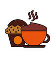 hot coffee cup and cupcake vector image