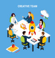 isometric brainstorming business background vector image