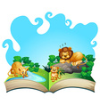 Lion family by the river vector image vector image